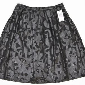 Michael Kors Faux Leather Floral Cutout Skirt 8
